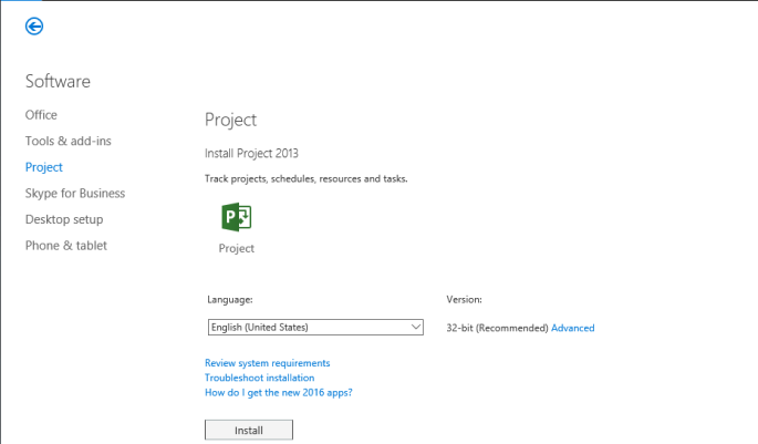 Installing the MS Project client