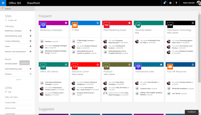 SharePoint-home-page-with-activity-zoomed-out-for-more-cards