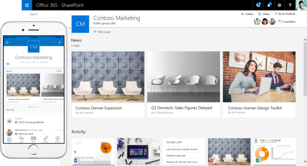 SharePoint-team-site-and-mobile-app