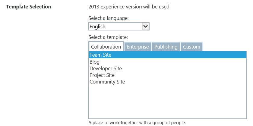 Office 365 sharepoint team site or team site for Sharepoint 2007 site templates