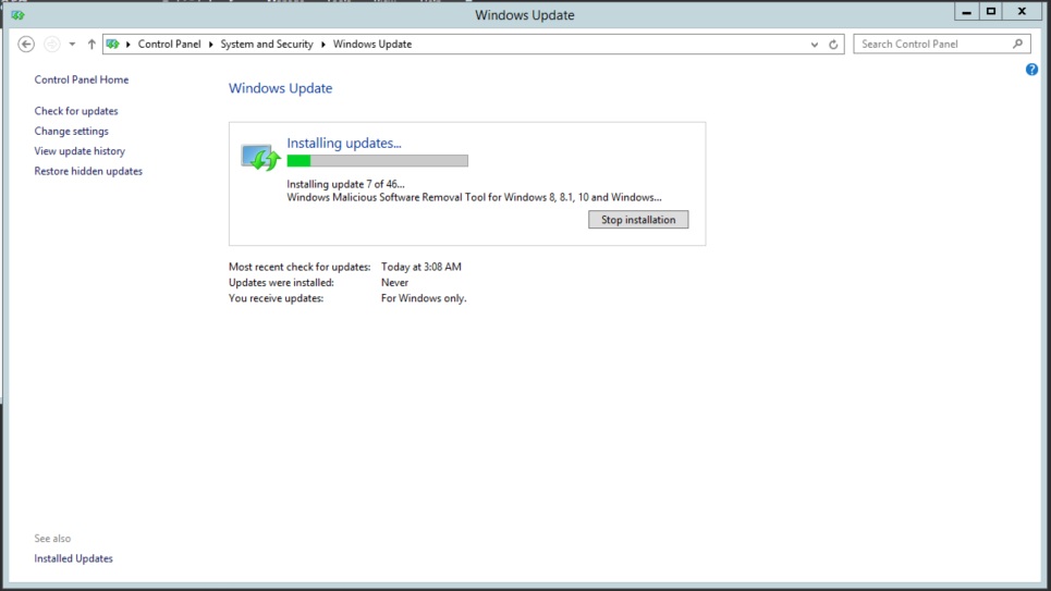 Windows Server 2012 – Windows update error code 8024401C