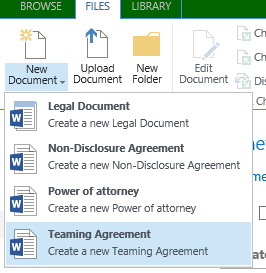 SharePoint Adding Links On A Page To Create New Documents Using - Types of legal documents