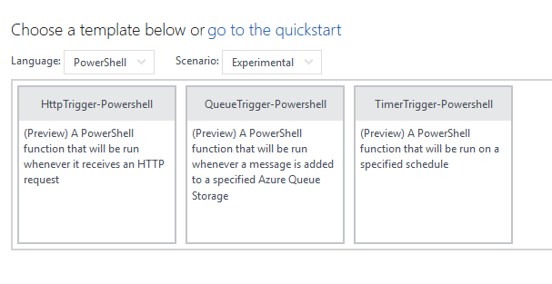 Office 365 azure running pnp powershell using azure functions and i get the option of 3 templates maxwellsz