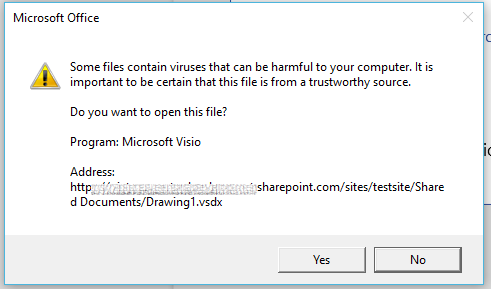after first receiving a virus warning the file opened in visio so that seems to at work as expected - Office Visio Online