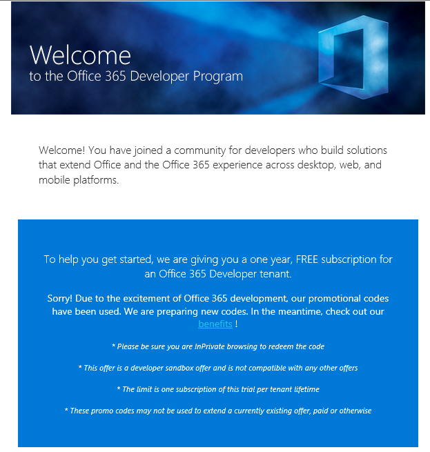 Office 365 – Have you tried creating a demo or development