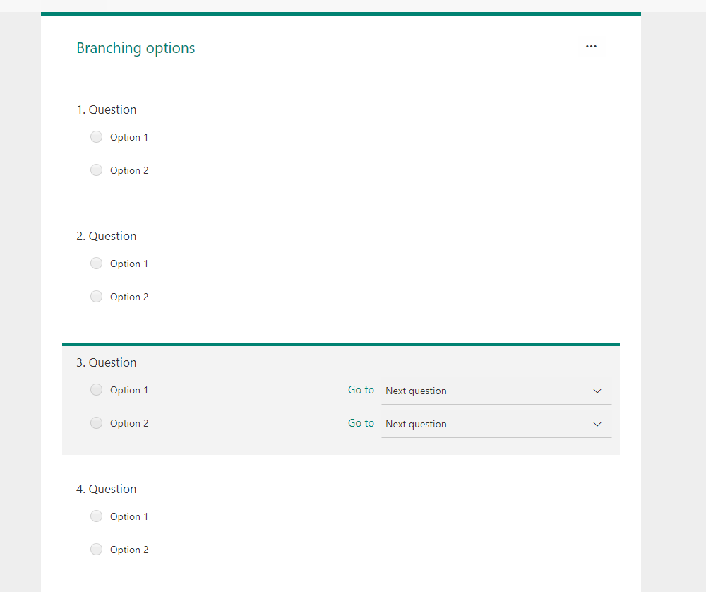 Microsoft Forms – The hidden options of branching in Forms