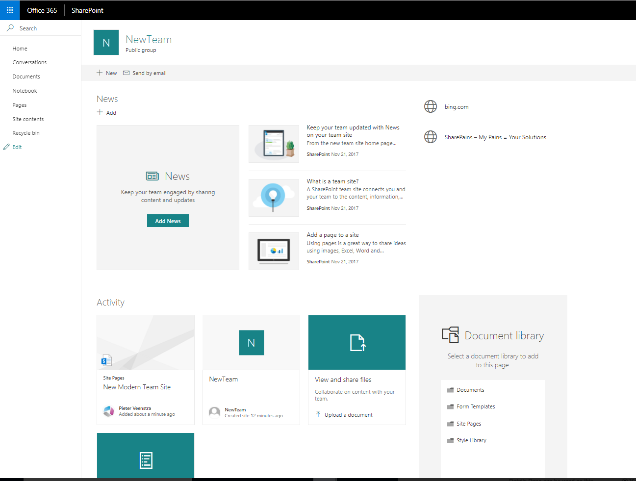 Office 365 – Updates to team sites, Is Microsoft trying to