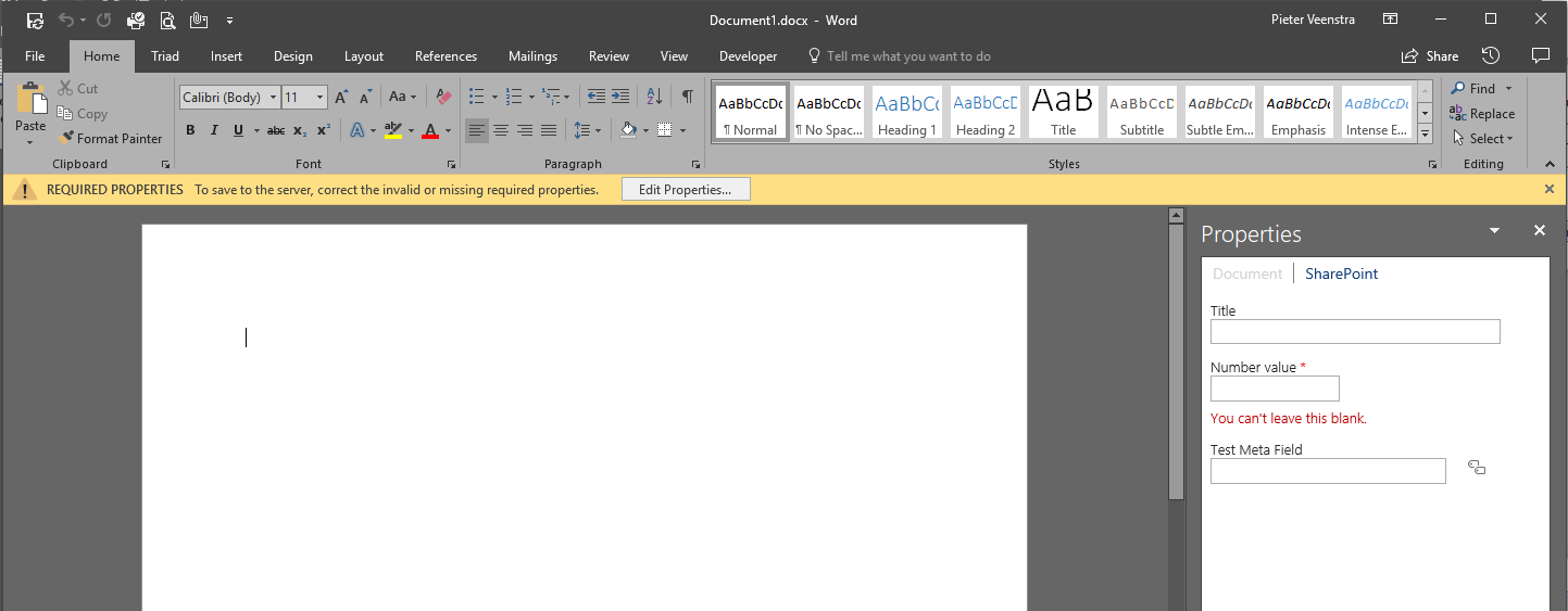 Office 2016 The Document Information Panel Has Been Removed But