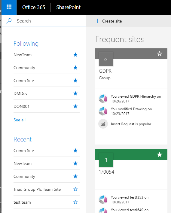 Office 365 – Create a new SharePoint Online team site and
