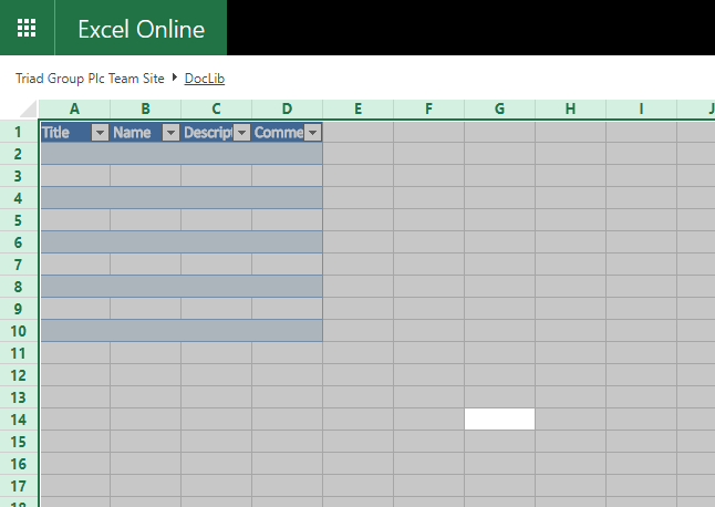 Excel table in Excel online