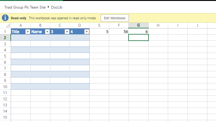 Excel file showing a table