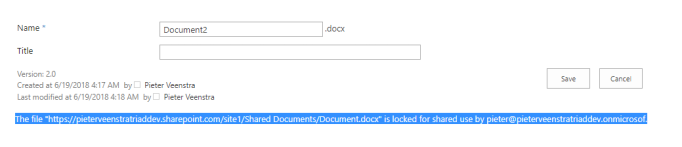 """The file """"Document.docx"""" is locked for shared use by username@tenant.onmicrosoft.com"""
