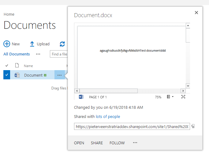 Showing a document in preview