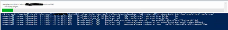 PnP PowerShell – Apply-PnPProvisioningTemplate stuck on