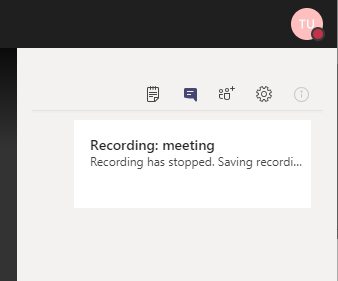 Recording: Meeting; Recording has stopped. Saving recording...