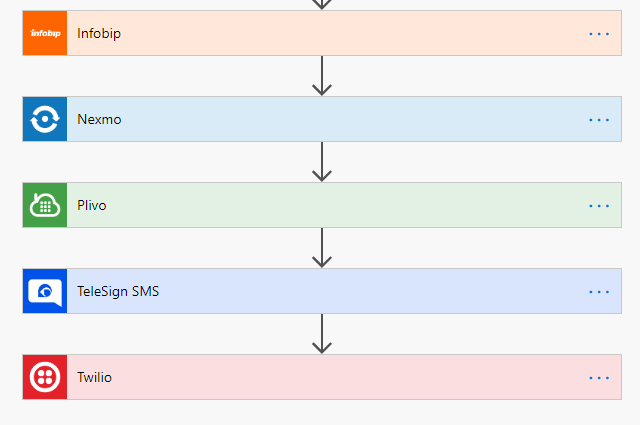 Inforbip, Nexmo, Plivo, Telesign SMS and Twilio are the options to send SMSes from Microsoft Flow.