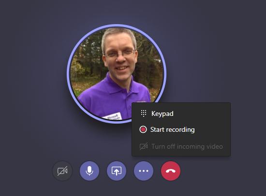 Start recording in Microsoft Teams