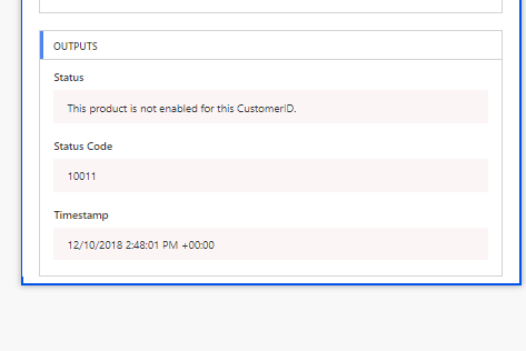 This product is not enabled for this CustomerId