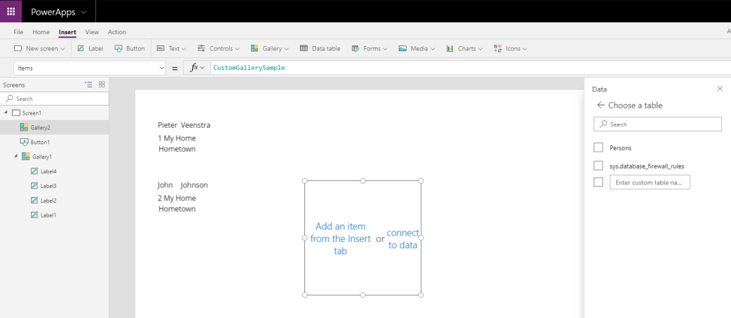 New table is not available in PowerApps.