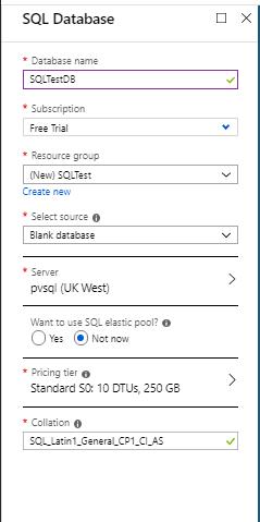 SQL Database configuration