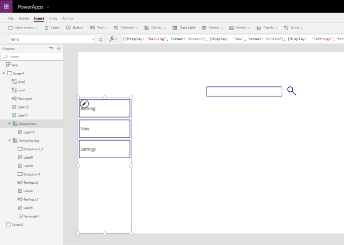 Create your menus using a gallery in PowerApps – SharePains