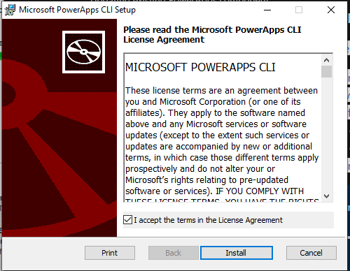 Installing Microsoft PowerApps CLI
