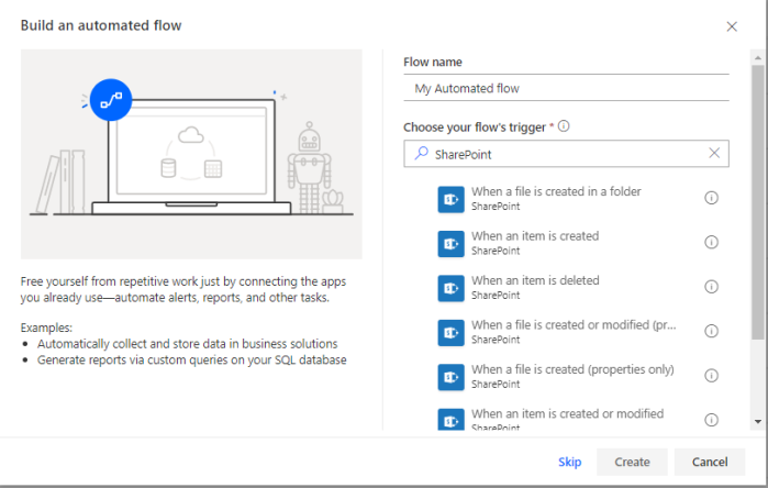 search automated flows