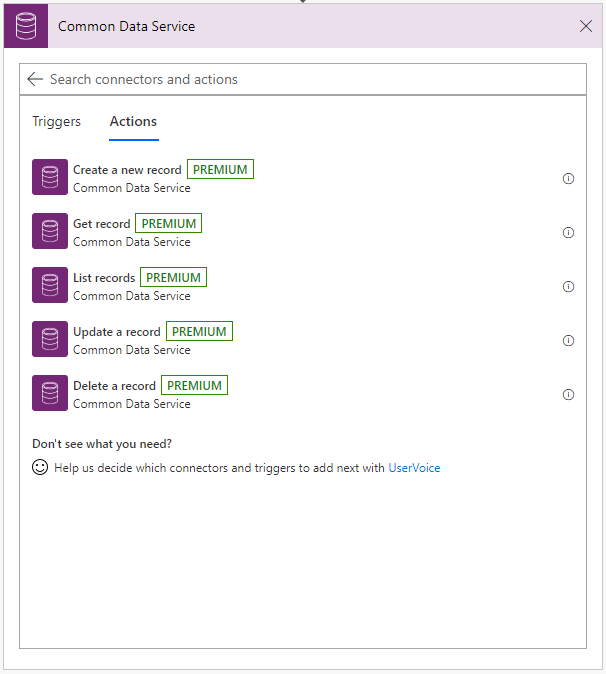 Common Data Service Actions