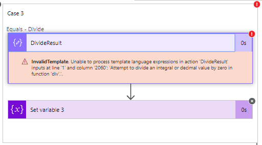 Error as a result from a compose action