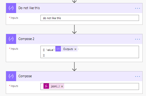 json actions in Flow